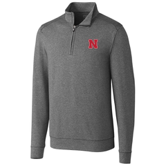 1 LEFT! Men's Nebraska Huskers Shoreline 1/2 Zip by Cutter&Buck-Grey