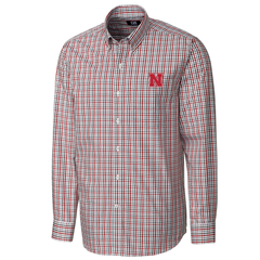 Men's Nebraska Huskers Gilman Plaid Woven Shirt by Cutter&Buck-Red