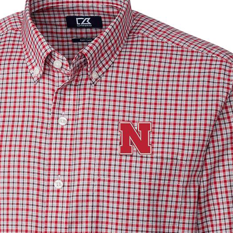 Men's Nebraska Huskers Plaid Woven Shirt by Cutter&Buck-Red Detail