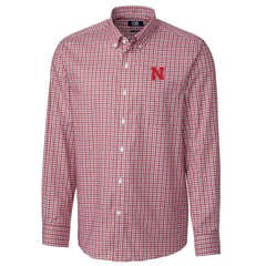 Men's Nebraska Huskers Plaid Woven Shirt by Cutter&Buck-Red