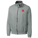 Men's Nebraska Huskers Nine Iron Full Zip Jacket by Cutter&Buck-Grey