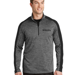 Men's Moisture Wicking 1/4 Zip Nebraska Top-Black