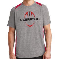 Men's Colorblock Performance Nebraska Grey Tee
