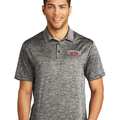Men's Heathered Polo with Nebraska Logo-Black Electric