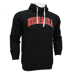 Men's Nebraska Melange Fleece Hooded Sweatshirt-Black