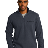 Men's Nebraska Interlock 1/4 Zip Jacket by RZR - Slate Grey- LS Model Front