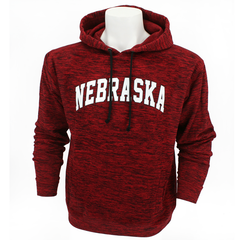 Men's Nebraska Red Flecked Hooded Sweatshirt-Red