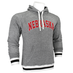Men's Arched Nebraska Peppered Fleece Hoodie-Black