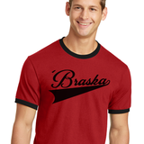 Men's 'Braska Red Ringer Tee Detail