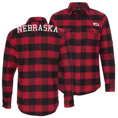Men's Buffalo Plaid Nebraska Red Flannel Shirt