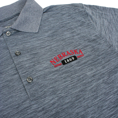 Men's Nebraska Striated Heather Polo-Grey Detail