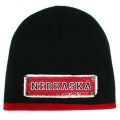 Men's Red Stripe Knit Black Beanie with NEBRASKA Patch