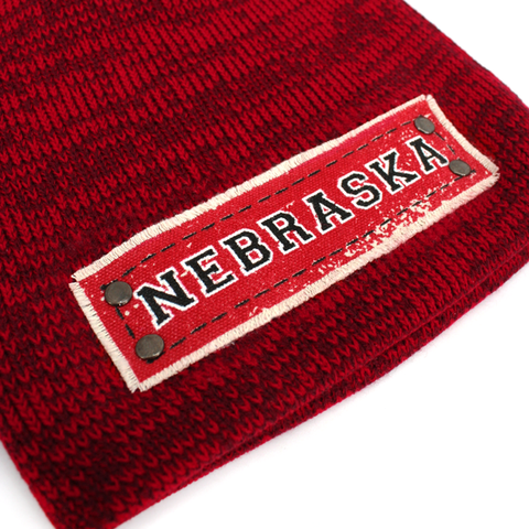 Men's Marled Knit Red Beanie with NEBRASKA Patch Detail
