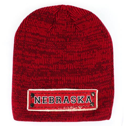 Men's Marled Knit Red Beanie with NEBRASKA Patch