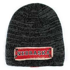 Men's Marled Knit NEBRASKA & Area Code Patch Black Beanie