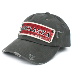 Nebraska Patch Distressed Grey Cap