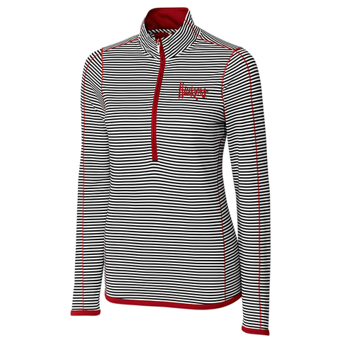 Nebraska Huskers Women's Stripe 3/4 Zip Drytec Trevor by Cutter&Buck