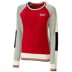 Women's Nebraska Huskers Red Crewneck Colorblock Stride Sweater by Cutter&Buck