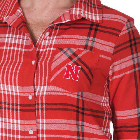 Women's Boyfriend Plaid Flannel Nebraska Huskers Shirt-Red Detail