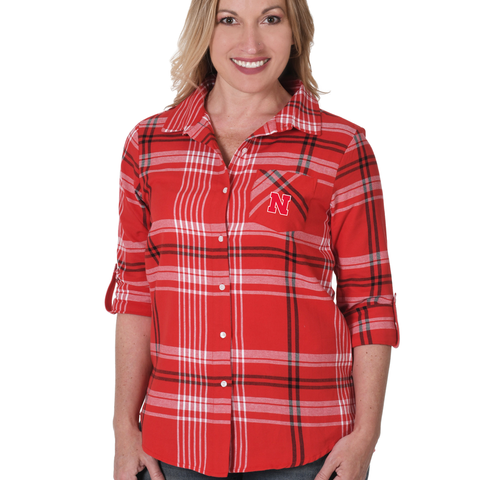 Women's Boyfriend Plaid Flannel Nebraska Huskers Shirt-Red