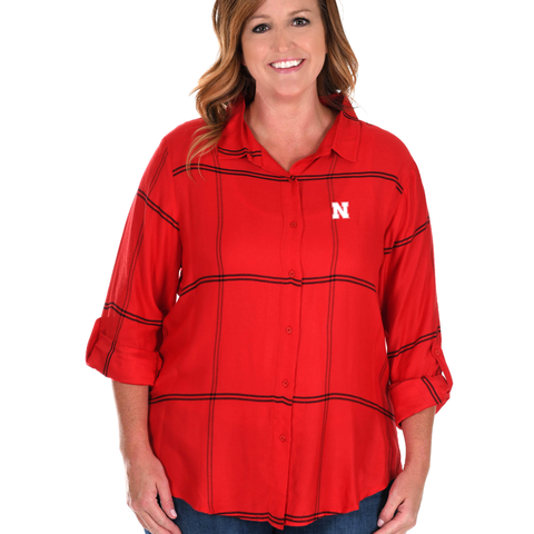 Women's Satin Cotton Plaid Boyfriend Nebraska Huskers Shirt-Red