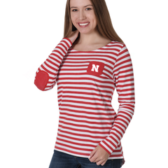 Women's Striped Elbow Patch Fleece Nebraska Huskers Top-Red
