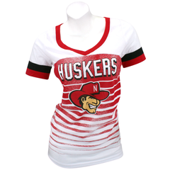 Women's Nebraska Football Mesh V-Neck Tee-Red