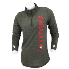 Women's 1/2 Zip Slub Stripe Herbie Husker Top-Black