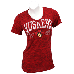 Women's Nebraska Huskers Red V-Neck T-Shirt with Soft Feel Ink