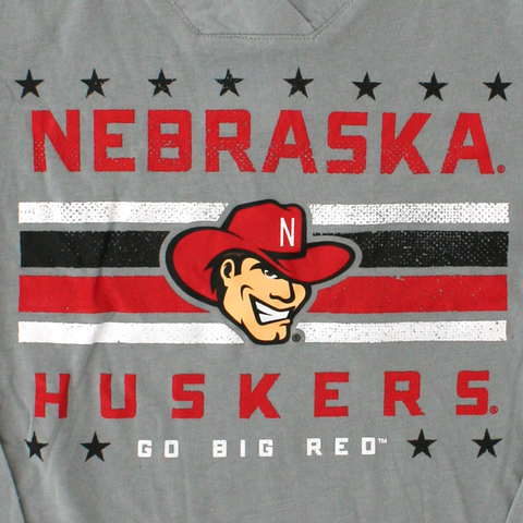 Nebraska Stars & Stripes Huskers Long Sleeve Hooded Tee Detail