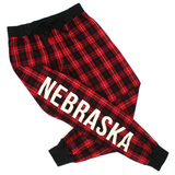 Women's Nebraska Plaid Flannel Jogger Pant-Red