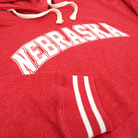 Women's Nebraska Pullover Hooded Sweatshirt with Stripes-Red Detail