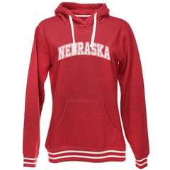Women's Nebraska Pullover Hooded Sweatshirt with Stripes-Red