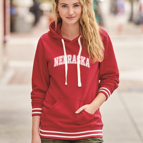 Women's Nebraska Pullover Hooded Sweatshirt with Stripes-Red Model
