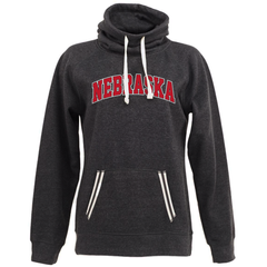 Women's Nebraska Cowl-Neck Sweatshirt-Black