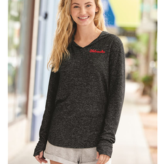 Women's Nebraska Cozy Fleece Hooded Pullover Top-Heathered Black