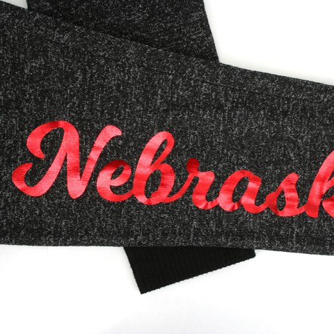 Women's Nebraska Cozy Fleece Jogger-Heathered Black Detail