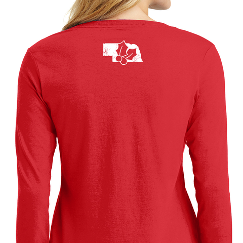 Women's Foil I'll Be Home for Christmas L/S-Red Back
