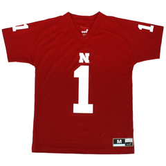 Youth V-Neck Nebraska Huskers #1 Performance Tee-Red