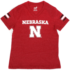 Youth Girls V-Neck Nebraska Tri-Blend Tee-Red