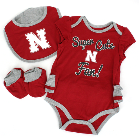 Super Cute Nebraska Huskers Fan Infant Girls 3 Piece Creeper Set