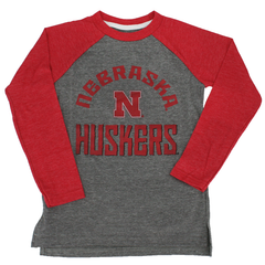 Kids/Youth Gridiron Raglan Sleeve Nebraska Huskers Tee-Grey