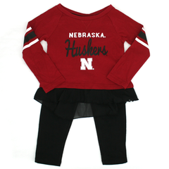 Toddler/Kids Huskers Legging Set - Red and Black