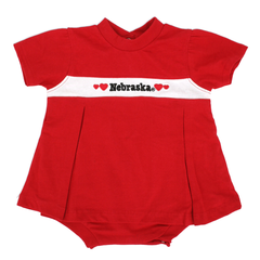 Nebraska Infant Pleated Onesie Red Dress