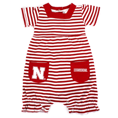 Infant Nebraska Huskers Striped Romper with Pockets