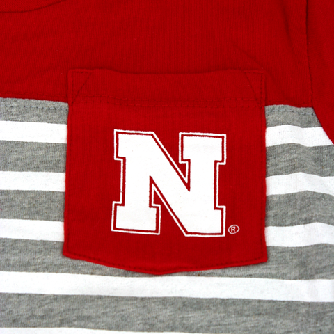 Boys Red Nebraska Huskers Color Block Stripe Pocket T-Shirt Detail