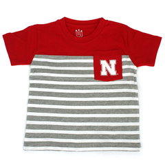 Boys Red Nebraska Huskers Color Block Stripe Pocket T-Shirt
