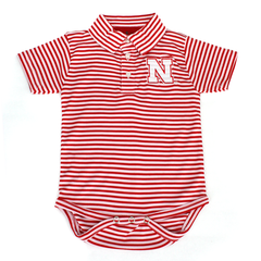Nebraska Huskers Infant Red Striped Onesie with Collar