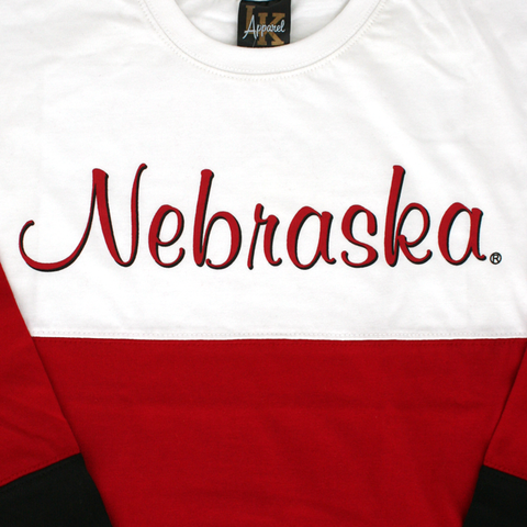 Kids/Youth Nebraska Huskers Tri-Colored Long Sleeve Shirt Detail