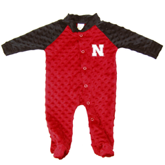 Infant Two-Toned Footed Nebraska Romper-Red